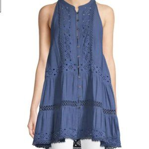 NWT FREE PEOPLE BLUE BOHO DRESS SIZE LARGE